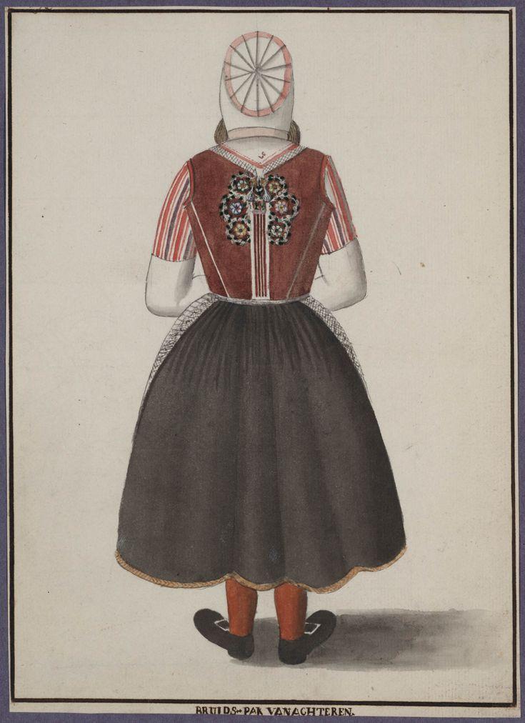 Bruid in rijglijf met de zeven rozen Marken (van achter) 1800-1900 Trouwkleding #NoordHolland #Marken
