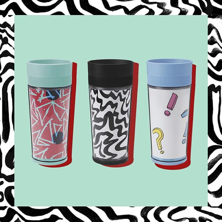 SPRIDD travel mug. Assorted patterns. #Dontthinkdance #Kitneale #furnishwithfashion #SPRIDDcollection #IKEAcollections