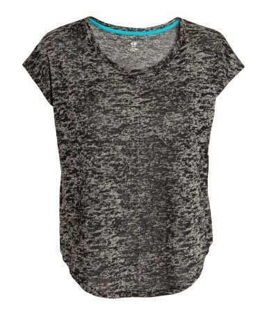 Loose-fit heather grey sport top in fast-drying, functional fabric.   H&M Sport