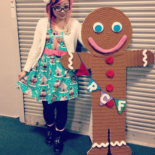 The big gingerbread man I crocheted for Renegade Craft Fair, SF!