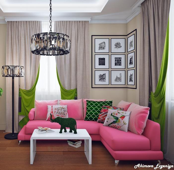 Кухня-гостиная дизайн, розовый диван в гостиной, зеленый и розовый в интерьере
