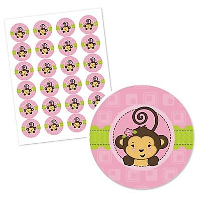 Monkey Girl - Personalized Baby Shower Round Sticker Labels - BabyShowerStuff.com