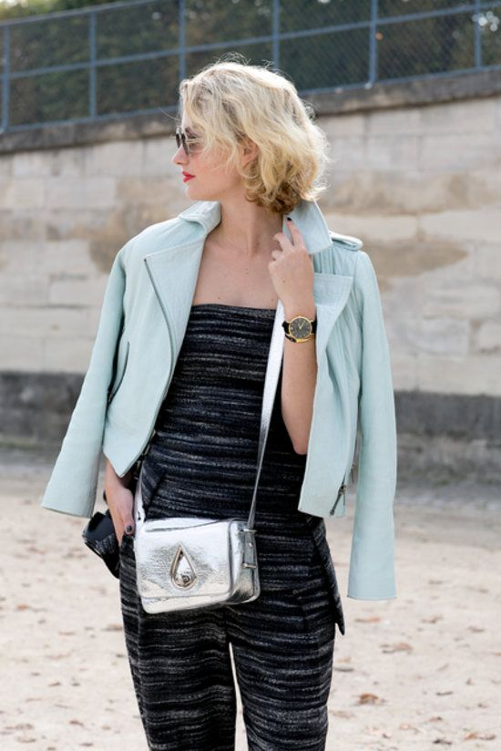 A metallic bag gives this jumpsuit an accessory upgrade! #pfw #streetstyle #ss14