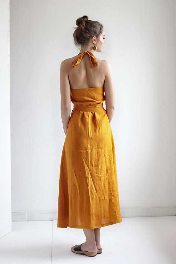 1915fef337 Maxi Linen Wrap Halter Dress in 2019
