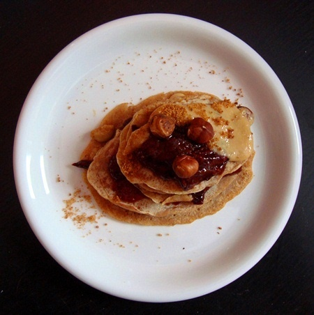 small pancakes with plum jam & tahini