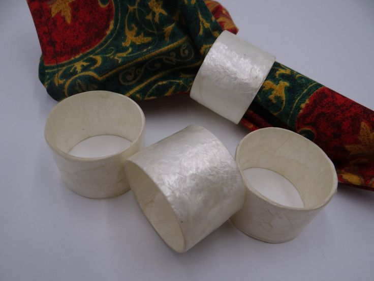 Four Faux Mother of Pearl Napkin Rings – Pretty Napkin Rings – White Napkin Rings – Modern Napkin Rings – 2 Sets Available
