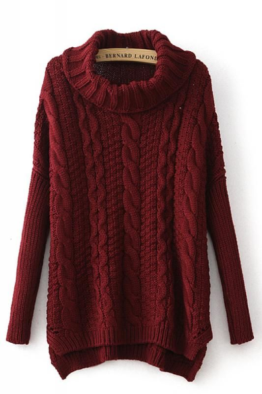 Turtle Neck Long Sleeve Loose Sweater