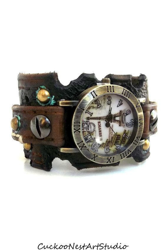 Distressed Watch, Womens Watch, Wrist Watch, Leather Watch, Bracelet Watch, Paris Eiffel Tower Watch
