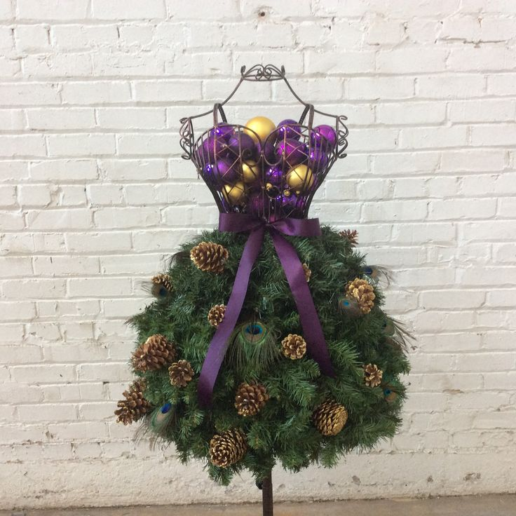 Dress Form Christmas Tree #1b - Peacock Feathers w/Ornaments in Bodice