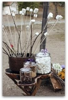 Perfect for a fall wedding!...you said there was a fire pit outside right??  this would be cute.  a s'more station as a snack