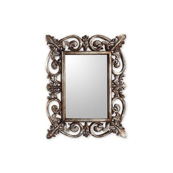 NOVICA Georgian Style Carved Wood Wall Mirror with Silver Finish (1.380 HRK) ❤ liked on Polyvore featuring home, home decor, mirrors, mirror, borders, metallic, picture frame, wall decor, novica home decor and gilt mirror