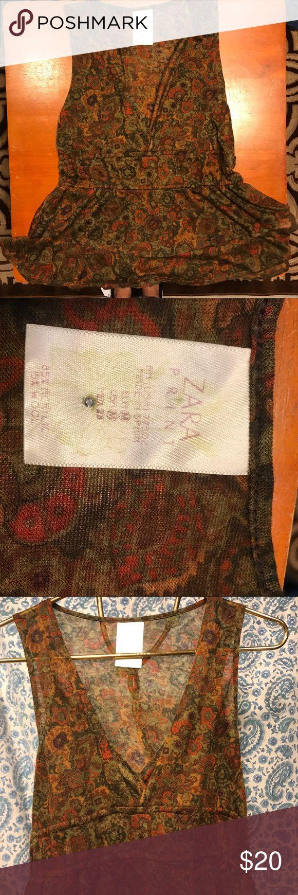 Zara Print top Acrylic and wool tank (5%). Cute layer piece with blazer or pencil skirt Zara Tops