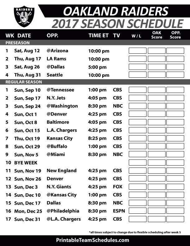 Oakland Raiders Football Schedule 2017