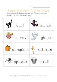 halloween missing letters worksheet