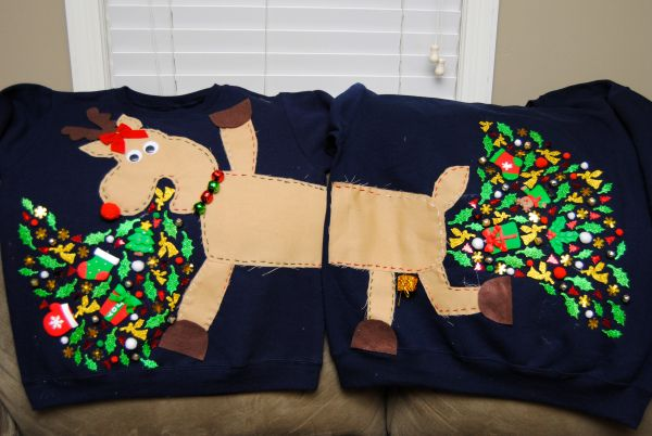 His and hers ugly sweaters - great for that holiday party!