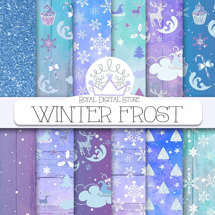 Christmas digital paper, frozen winter, watercolor christmas scrapbook paper, digital christmas paper, holiday digital paper on blue, purple #christmas #watercolor #winter #blue #digitalpaper #scrapbookpaper #partysupplies #glitter