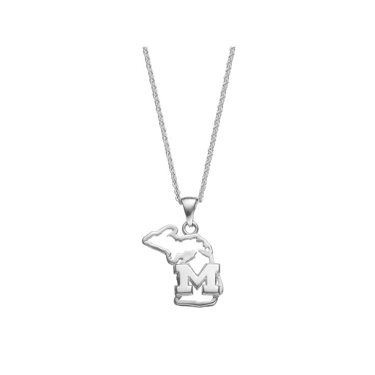 "Dayna U Michigan State Wolverines Sterling Silver Pendant Necklace, Women's, Size: 18"", Grey"