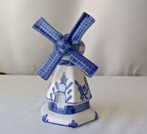 Vintage Holland Delft Blue Pottery  Windmill by CynthiasAttic