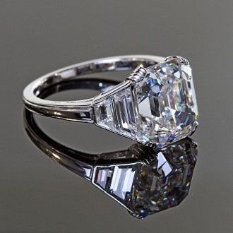 Antique Five Carat Asscher Cut Diamond Ring in Platinum