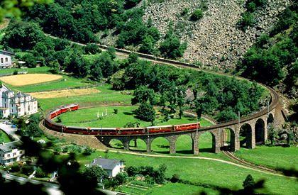 Brusio spiral viaduct on the Rhaetian Railway, Switzerland.