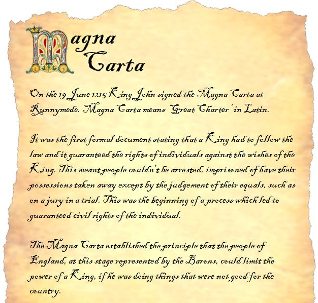 An adaptable template for writing your own Magna Carta. Template contains a brief, editable introduction to the Magna Carta.
