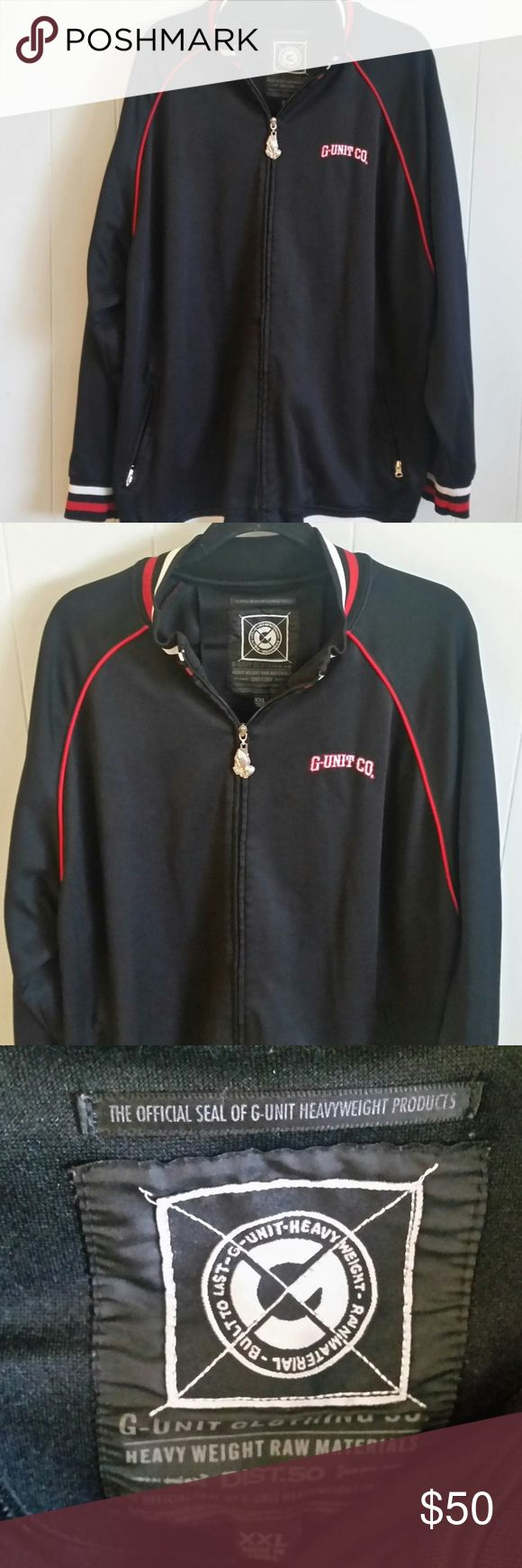 """VTG G Unit Clothing Co.Zip Up Jacket Size XXL VTG G Unit Clothing Co. Zip Up Jacket Streetwear Size XXL Rap Hip Hop, Praying Hands with Rosary on Zipper  Arm Pit to Arm Pit 27"""" and 29"""" Length G Unit Clothing Jackets & Coats"""