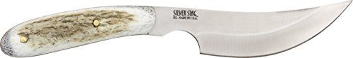 Silver Stag Slab Hunter Fixed Knife. Overall length 8.25 inches. 4 inch D2 Tool Steel blade Full Tang blade. Elk or Moose Scale slabs. Heat Treated to Rockwell 60. Made in U.S.A.