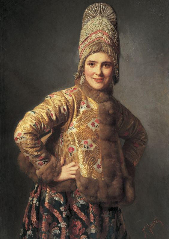 Russian costume in painting. Karl Wenig. Russian Girl. 1889. #art #painting…