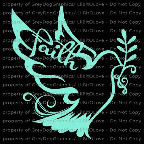 Elegant Faith Dove Vinyl Decal Christian Sticker Script God Jesus Auto