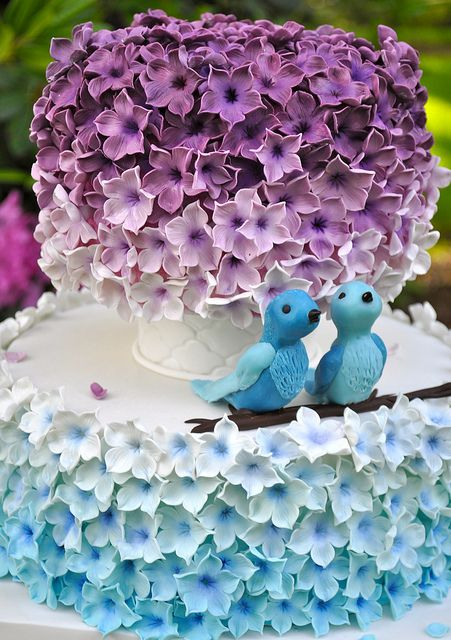 Purple and Blue Wedding Cake by Stephanie (Cake Fixation), via Flickr/great for love bird or spring themed wedding
