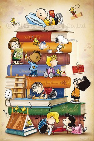 Snoopy, Woodstock and Friends and the Rest of the Peanuts Gang Sitting on a Pyramid of Books and Reading