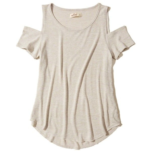 Hollister Must-Have Cold Shoulder T-Shirt ($9.99) ❤ liked on Polyvore featuring tops, t-shirts, shirts, oatmeal, crewneck shirt, cut-out shirts, crew t shirts, t shirt and open shoulder shirt