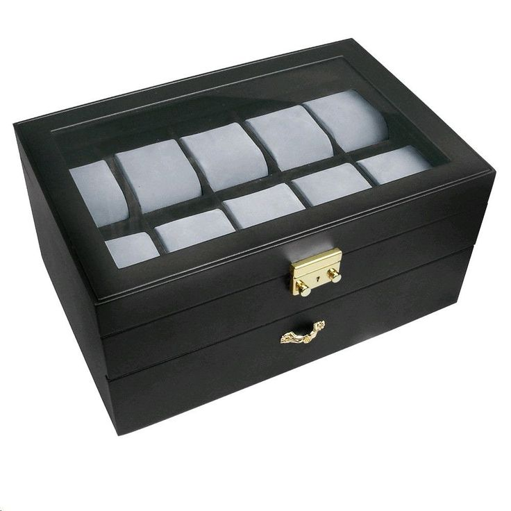 """Ikee Design® Deluxe Black Watch Display Case With Key Lock, Clear Glass Top, 20 Watch Holders. 11 3/4"""" x 8"""" x 5 3/4"""""""