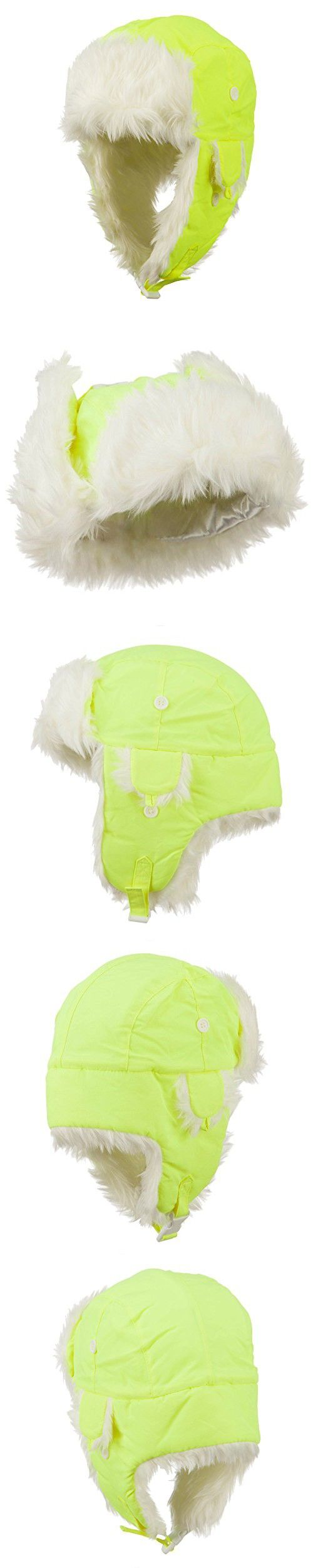 Neon Faux Fur Aviator Trooper Hat - Neon Yellow S-M