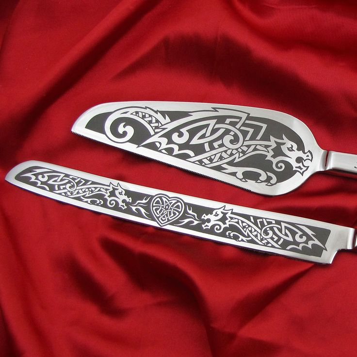 Celtic Dragon Wedding Cake Server Set