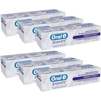 [BOCAMOB]Kit Com 6 Unidades Creme Dental Oral-b 3d White Perfection 75ml - R$39,90