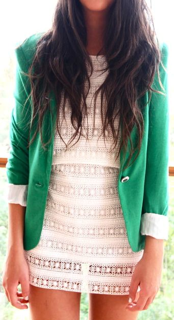 love this green blazer: Green Blazer, Fashion, Style, Outfit, White Dress, Blazers, Colored Blazer, Lace Dresses