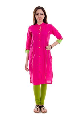 Cotton Kurti In Pink By A A Corporation Kurtas and Kurtis For Women on Shimply.com