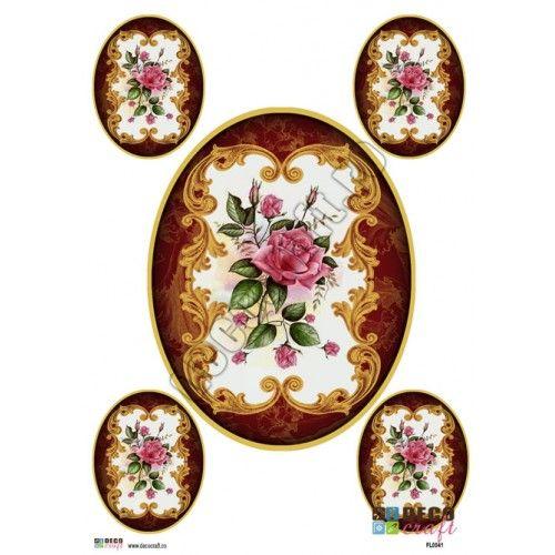 Hartie Decoupage Clasica : Hartie decoupage A4 - Buchet Royal (5 img)