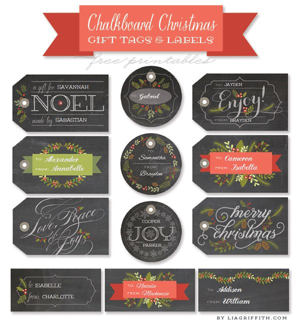 Free printable Christmas Labels and Tags in a chalkboard style by @lia griffith Matches a great set of Christmas labels for your food and gifts: www.http://blog.worldlabel.com/2013/chalkboard-style-christmas-labels-for-gifts.html