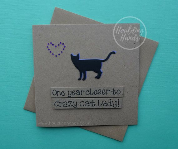 Crazy cat lady birthday card  cat silhouette with by HouldingHands
