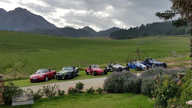 MX-5, Viper, Lotus, Lotus, Lotus, Lotus. Garden Route breakfast run.