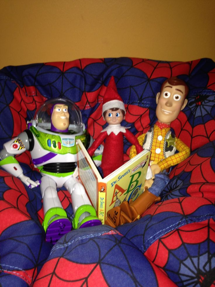 Day 8-Bernard, Buzz and Woody reading a story together.