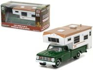 1967 Dodge D-100 Green With Winnebago Slide In Camper Hobby Exclusive 1/64 Scale Diecast Model By Greenlight 29866