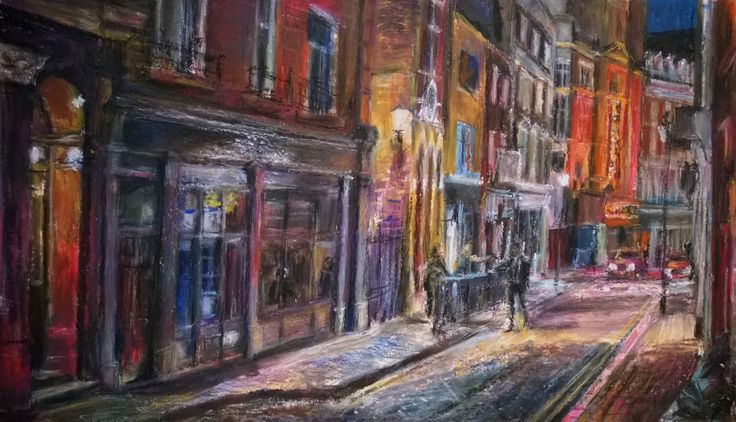 https://flic.kr/p/rvY5ZS | Great Windmill Street Soho London | Neocolor on card 37 x 21cm