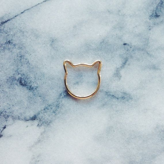 Gold Cat Ring  Cat Jewelry Gold Ring Simple by ExperimentalJewels