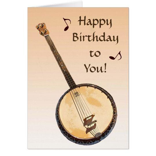 Banjo Musical Instrument Orange Birthday Card