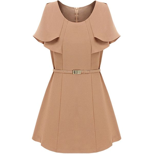 Choies Beige Layered Cape Dress with Belt