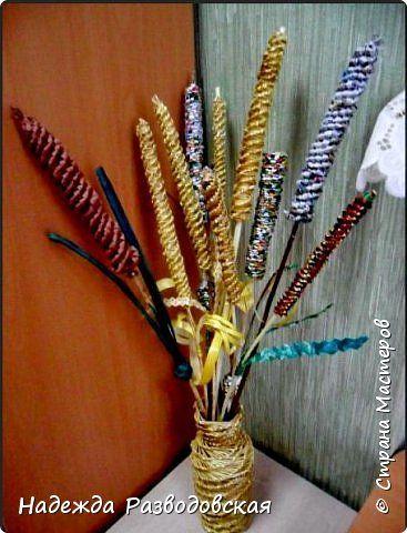 Мастер-класс.  Спиральное плетение вокруг каркаса.( Из соломки,  газетных трубочек, картонных полосок) фото 31