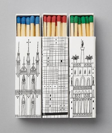 Best matchboxes ever – great lil' color pops of the matches, too.